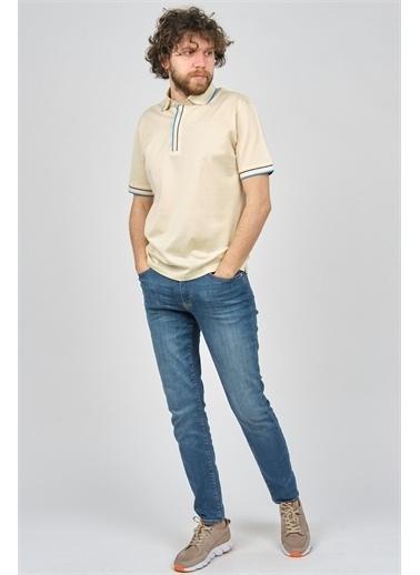 Arslanlı Arslanlı Erkek Şerit Detaylı Polo Yaka T-Shirt  Bej